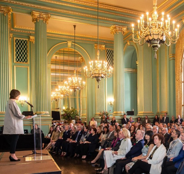 Woman speaking at a podium at Institute of Classical Architecture and Art (ICAA) Annual Julia Morgan Awards 2018 on May 21st 2018 at San Francisco War Memorial and Performing Arts Center in San Francisco, CA